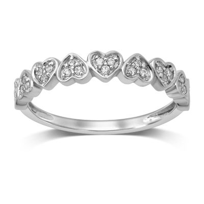 Womens Other 1/8 CT. T.W. Genuine White Diamond 10K White Gold Anniversary Band