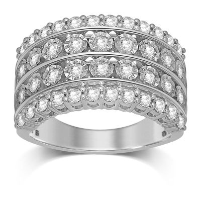 Womens 1 1/4 CT. T.W. Genuine White Diamond 10K White Gold Wedding Band