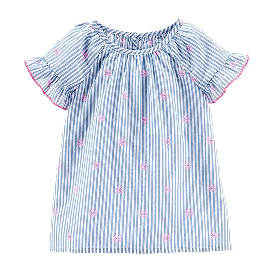Oshkosh Girls Round Neck Short Sleeve Blouse Toddler