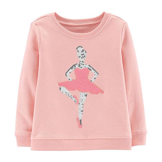 Oshkosh Girls Round Neck Long Sleeve Sweatshirt - Toddler