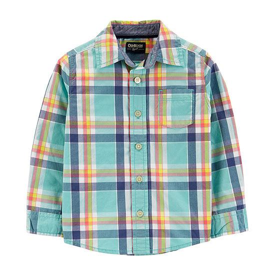 Oshkosh Boys Long Sleeve Button-Front Shirt Toddler