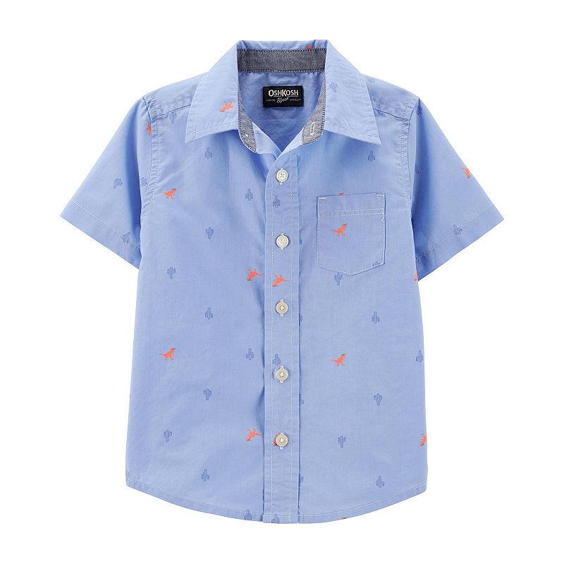 image of Oshkosh Boys Short Sleeve Button-Front Shirt Toddler
