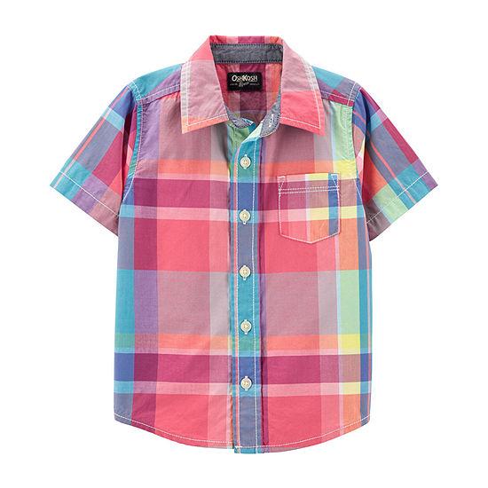 Oshkosh Boys Short Sleeve Button-Front Shirt Toddler