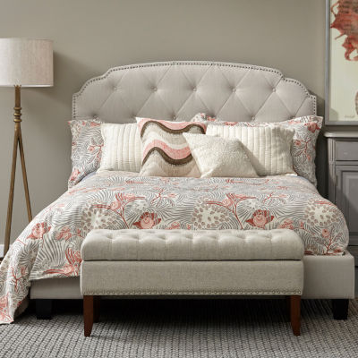 Hinged Top Button Tufted Storage Bed Bench In Lunar Linen