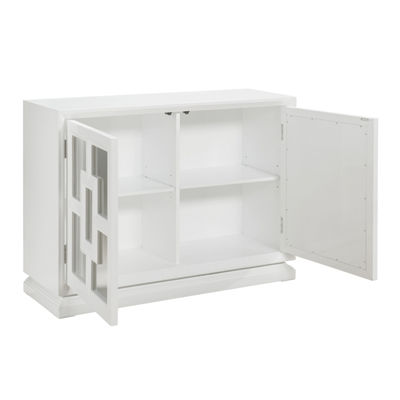 Melanie White Gloss Mirrored Door Wine Cabinet