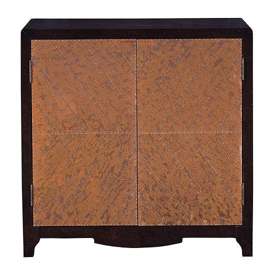 Copper Chevron Door Bar Cabinet