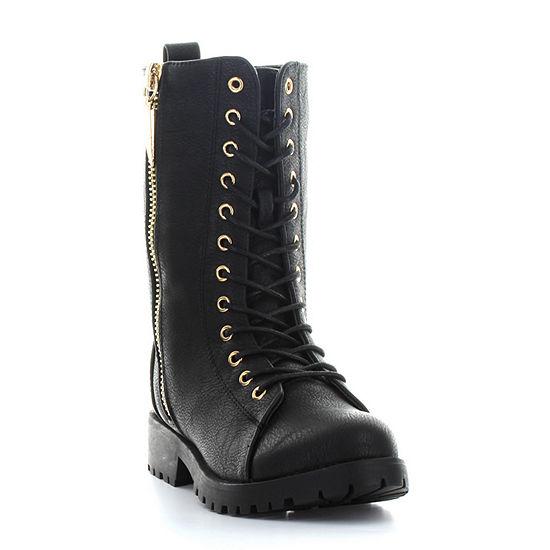 Seven 7 Womens Mr. Zipper Combat Boots Zip