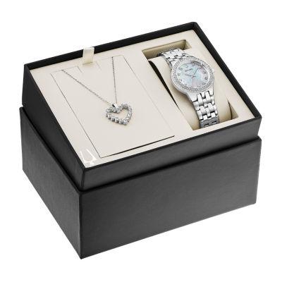 Bulova Swarovski Crystal Womens Silver Tone 2-pc. Watch Boxed Set-96x144
