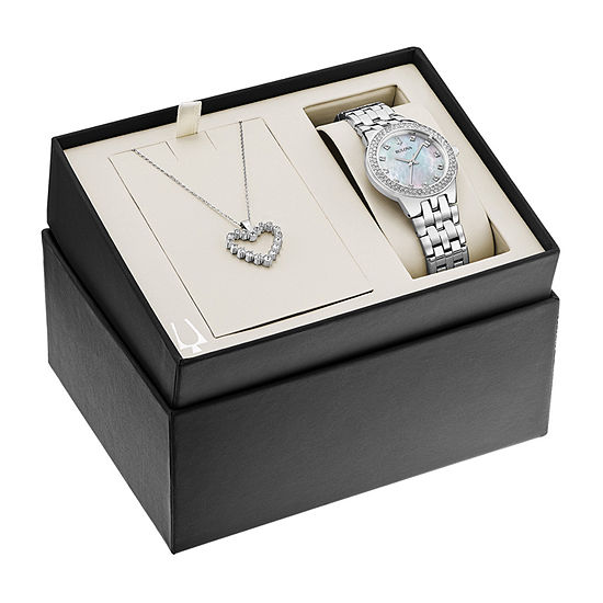 Bulova Swarovski Crystal Womens Silver Tone 2 Pc Watch Boxed Set 96x144