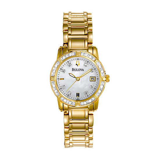 Bulova Womens Gold Tone Stainless Steel Bracelet Watch-98r135