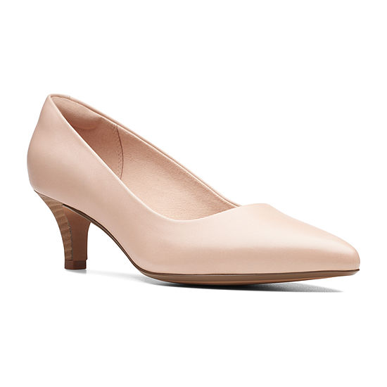 Clarks Womens Linvale Jerica Slip-on Pointed Toe Kitten Heel Pumps