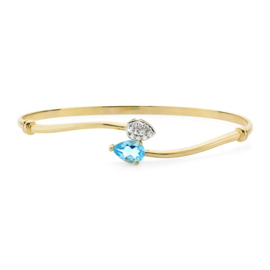 Genuine Blue Topaz and Lab-Created White Sapphire 14K Yellow Gold Over Sterling Silver Bangle Bracelet