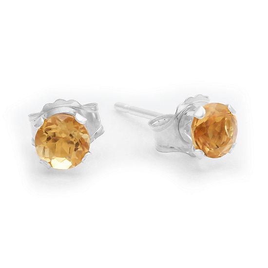 Genuine 4mm Citrine 10K Yellow Gold Stud Earrings