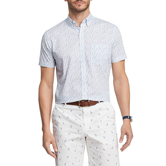 IZOD Mens Breeze Woven Short Sleeve Print Button-Front Shirt