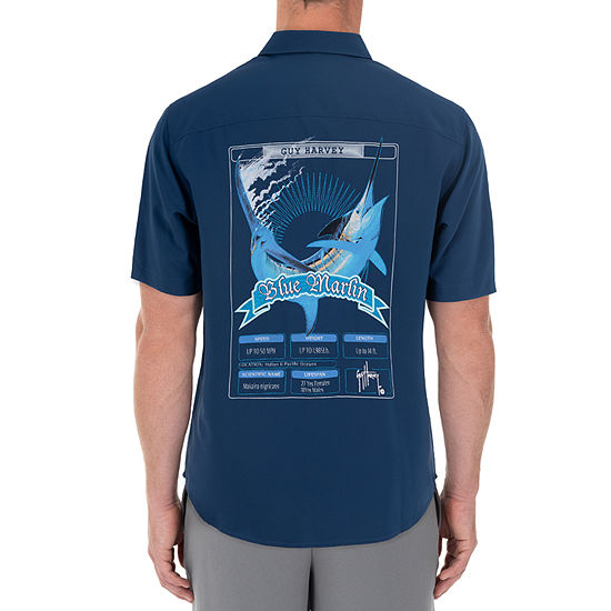 Guy Harvey Mens Short Sleeve Moisture Wicking Button-Down Shirt