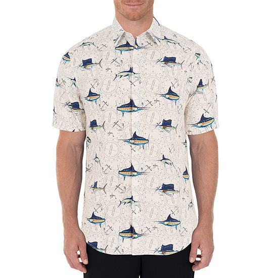Guy Harvey Mens Short Sleeve Button-Down Shirt