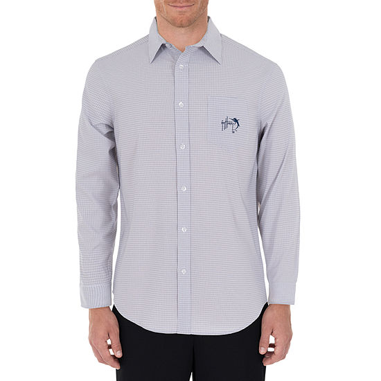 Guy Harvey Mens Long Sleeve Moisture Wicking Plaid Button-Down Shirt