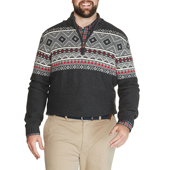 IZOD - Big and Tall Mock Neck Long Sleeve Knit Pullover Sweater