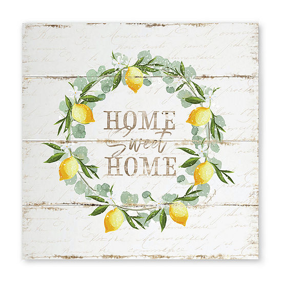 "Courtside Market Home Sweet Home Lemon Wreath 16""X16"" Canvas Art"