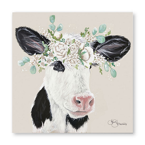 """Courtside Market Patience The Cow 16""""X16"""" Canvas Art"""