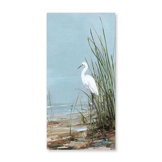 "Courtside Market White Egret 12""X24"" Canvas Art"