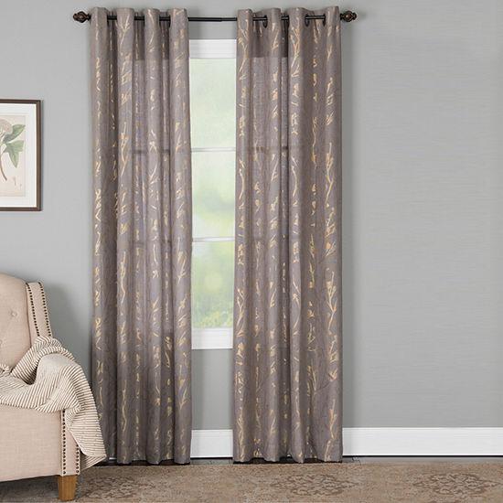 Miller Curtains Dana Floral Light-Filtering Grommet-Top Single Curtain Panel