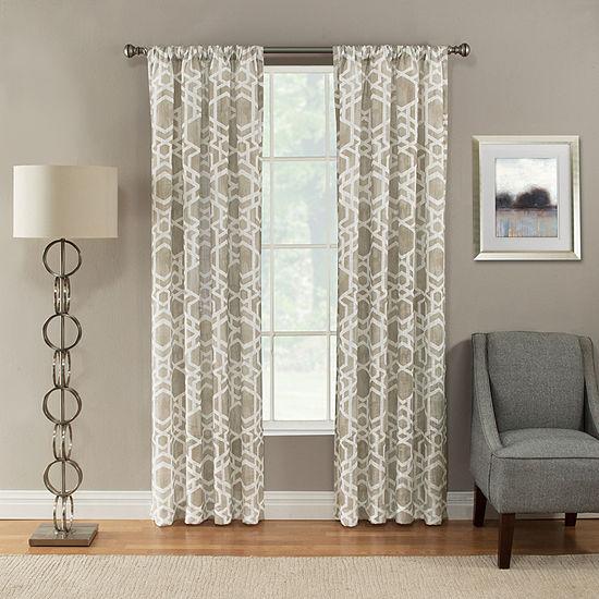 Miller Curtains Devon Geometric Light-Filtering Rod-Pocket Single Curtain Panel