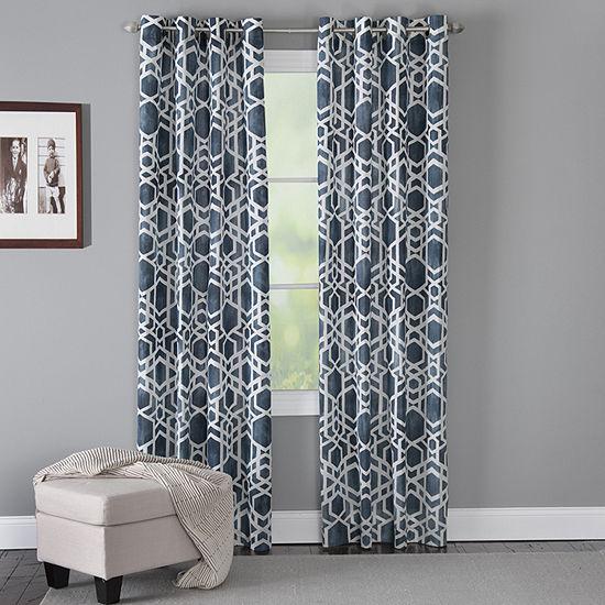 Miller Curtains Hammond Geometric Light-Filtering Grommet-Top Single Curtain Panel