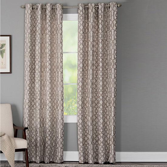 Miller Curtains Holland Geometric Light-Filtering Grommet-Top Single Curtain Panel