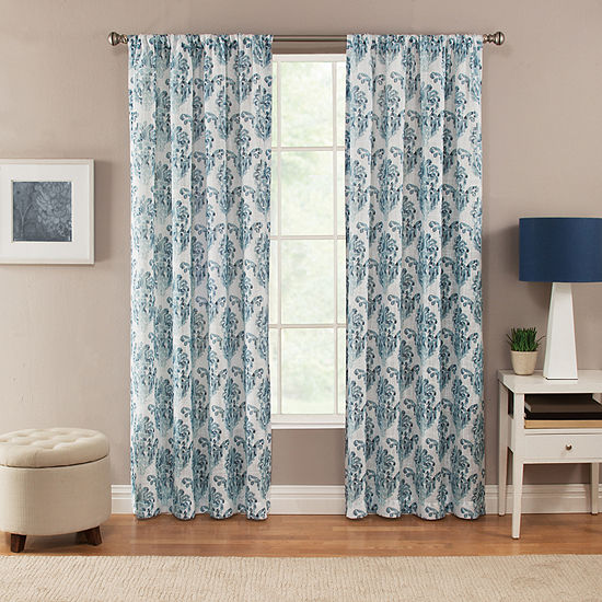 Miller Curtains Linnea Damask Light-Filtering Rod-Pocket Single Curtain Panel