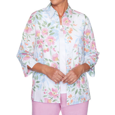 Alfred Dunner Garden Party Womens 3/4 Sleeve Embellished Button-Front Shirt