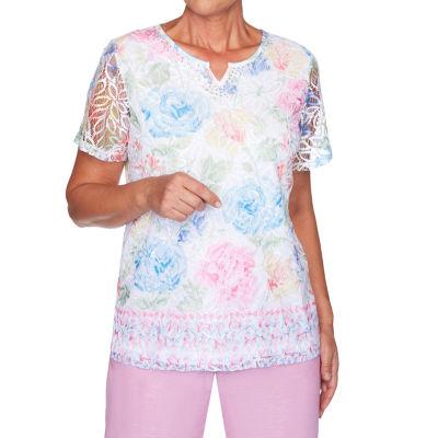 Alfred Dunner Garden Party-Womens Split Crew Neck Short Sleeve T-Shirt