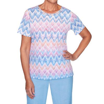 Alfred Dunner Garden Party-Womens Round Neck Short Sleeve T-Shirt