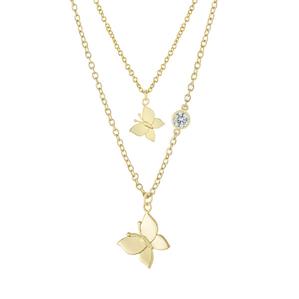Sparkle Allure Mommy & Me 2-pc. Cubic Zirconia 18K Gold Over Brass Cable Butterfly Necklace Set
