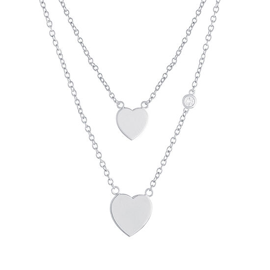 Sparkle Allure Mommy & Me 2-pc. Cubic Zirconia Pure Silver Over Brass Cable Heart Necklace Set