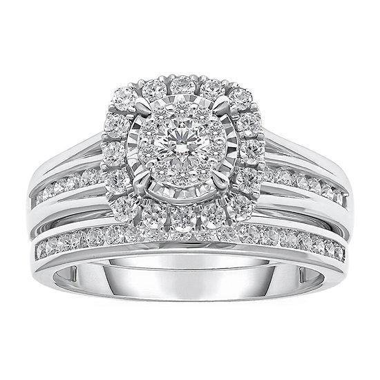 Womens 1 CT. T.W. Lab Grown White Diamond 10K White Gold Engagement Ring