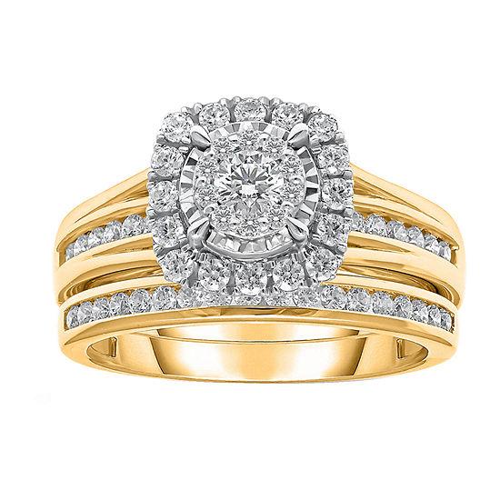 Womens 1 CT. T.W. Lab Grown White Diamond 10K Gold Engagement Ring
