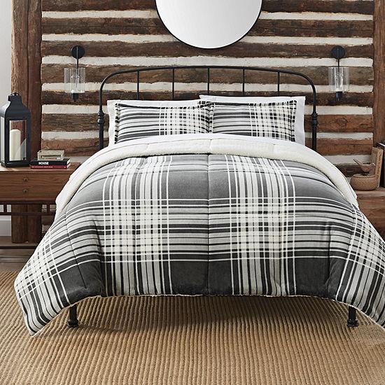 Serta Comfy Plush™ Plaid Antimicrobial Midweight Comforter Set