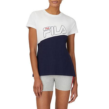 Fila Ash Womens Crew Neck Short Sleeve T-Shirt, Medium , Blue
