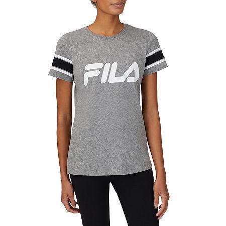 Fila Spirited Womens Crew Neck Short Sleeve T-Shirt, X-large , Gray