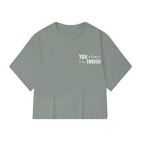 Juniors Womens Crew Neck Short Sleeve Graphic T-Shirt, X-large , Green