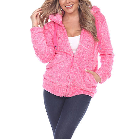 White Mark Knit Hooded Midweight Bomber Jacket, Small , Pink