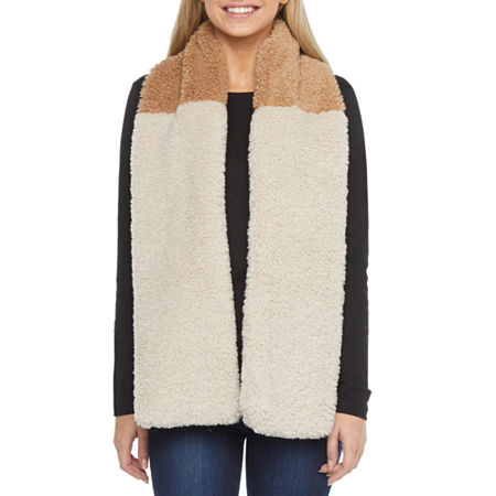 Mixit Faux Fur Two Tone Cold Weather Scarf, One Size , Beige