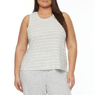 Ambrielle Womens-Plus Pajama Top Crew Neck