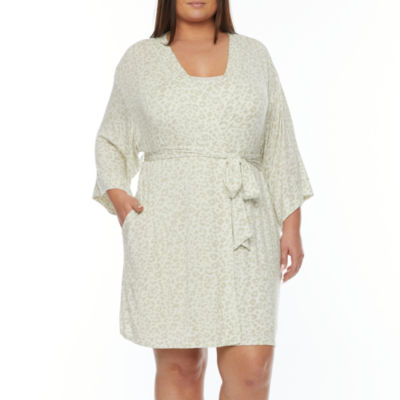 Ambrielle Womens-Plus Kimono Robes 3/4 Sleeve Short Length