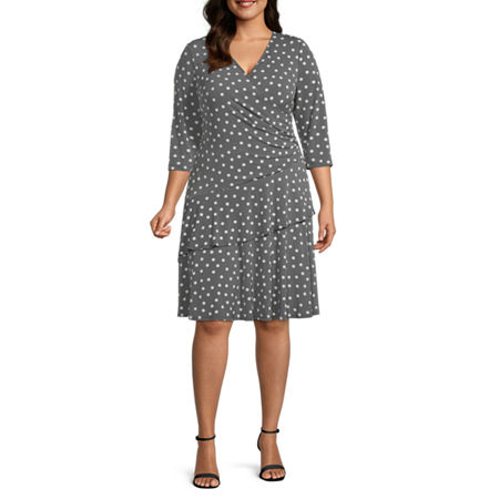 1940s Plus Size Fashion: Style Advice from 1940s to Today Robbie Bee-Plus 34 Sleeve Polka Dot Puff Print Wrap Dress 1x  Gray $41.24 AT vintagedancer.com