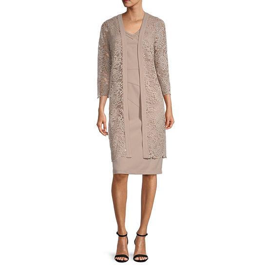Maya Brooke 3/4 Sleeve Lace Jacket Dress