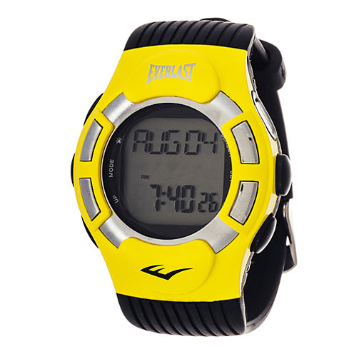 Everlast® Mens Heart Rate Monitor Yellow Bezel Sport Watch