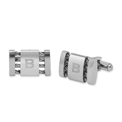 Personalized Stainless Steel Cuff Links with Cable Detail