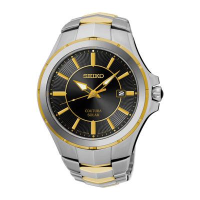 Seiko® Coutura Mens Two-Tone Stainless Steel Solar Bracelet Watch